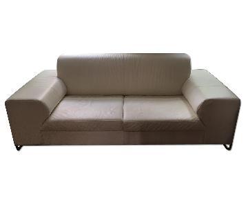 Calligaris Skyline White Leather 2 Seater Sofa