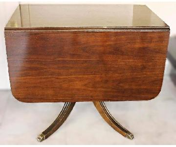 Mahogany Drop Leaf Claw Foot Dining Table