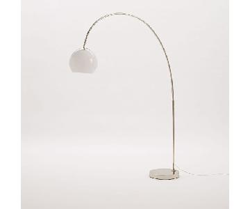 West Elm Acrylic Shade Floor Lamp in Polished Nickel/White