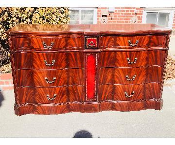 Ebert Furniture Antique 1940s Mahogany Leather Front Dresser