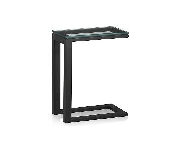 Crate & Barrel Parsons Glass Top End Table