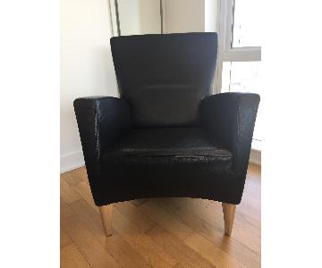 Italian Leather Armchair w/ Metal Feet