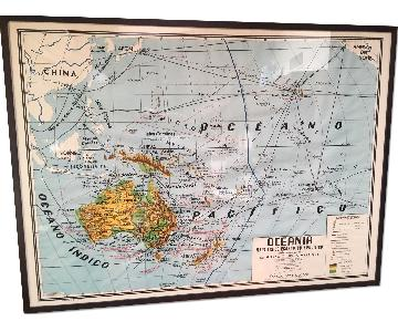 Mid Century Mexican School Map Australia and the Pacific