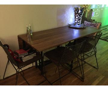 Crate & Barrel Drop Leaf Dining Table w/ 6 Chairs