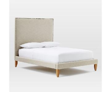 West Elm Light Grey Queen Bed w/ Nailhead Headboard