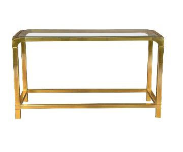 MasterCraft Brass & Glass Console Table