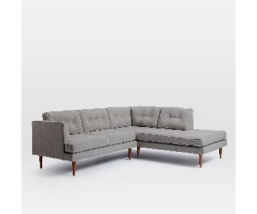 West Elm Peggy Light Grey Sectional Sofa