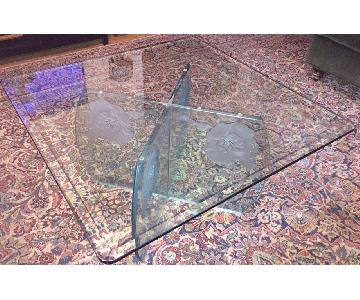 Vintage Hand-Etched Floral Glass Coffee Table