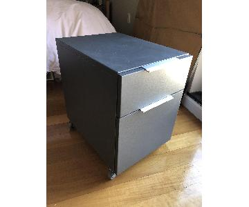 Crate & Barrel Graphite Two-Drawer File Cabinet