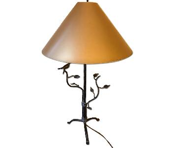 MYC Table Lamp w/ Gold Shade & Wrought Iron Base