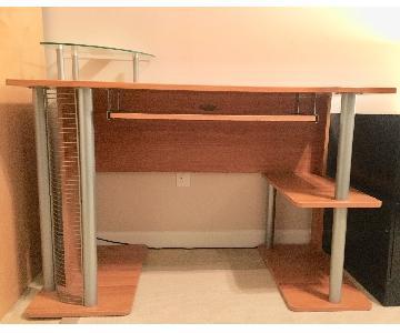 Z-Line Computer Desk w/ Wood & Glass Shelves