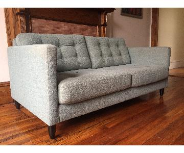 Blue/Grey Mid Century Style Button Tufted Sofa