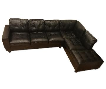 Black Faux Leather 2-Piece Sectional Sofa