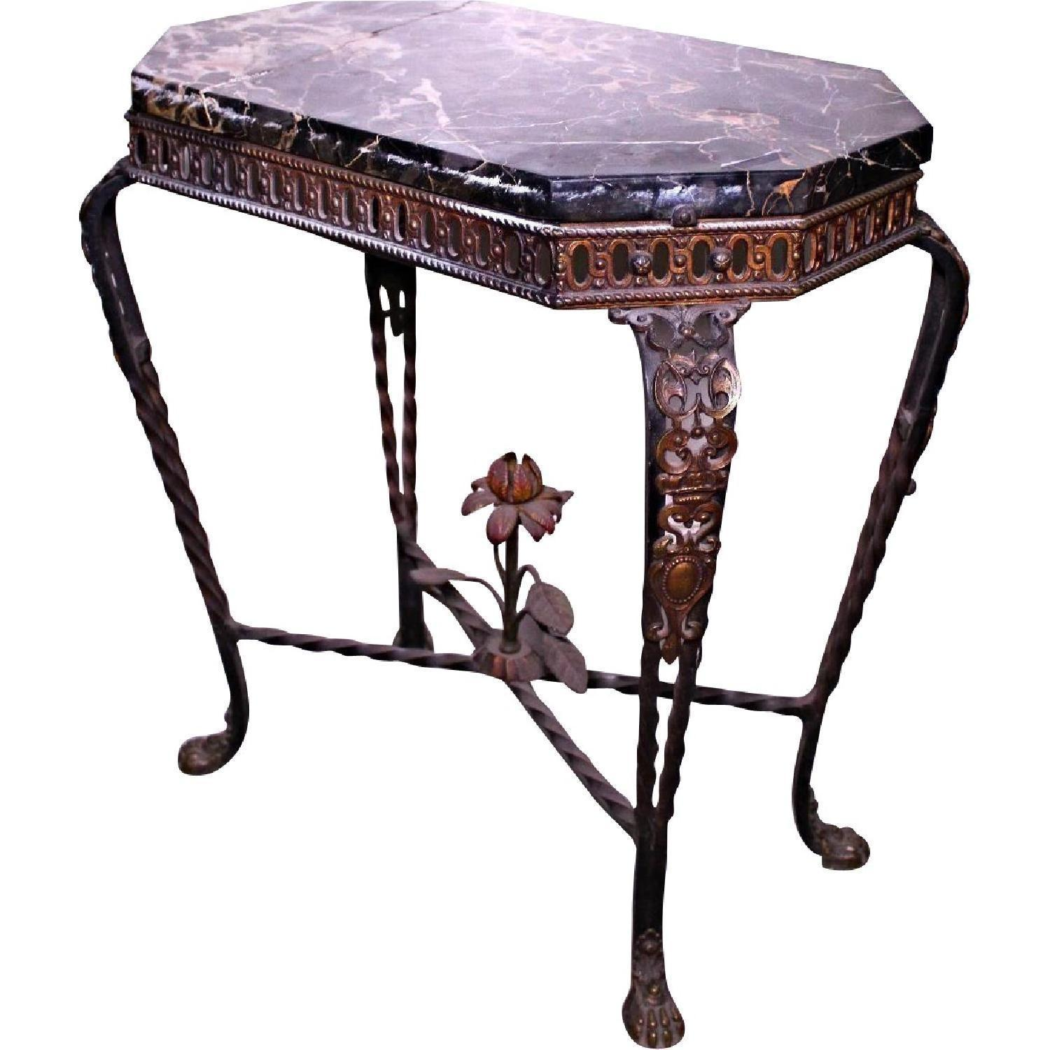 1930 Antique French Art Deco Style Iron Black Marble Console