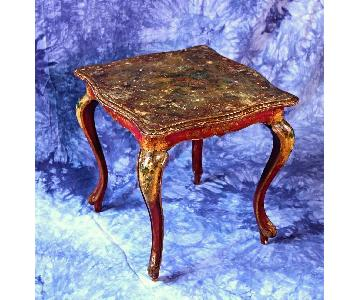 Italian Handpainted Square Low Side End Table/Nightstand