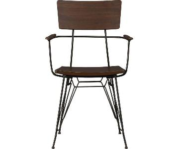 Crate & Barrel Wood & Metal Dining Arm Chair