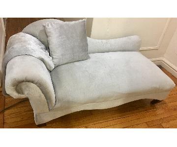 Alligator Pattern Grey Suede Chaise Lounge