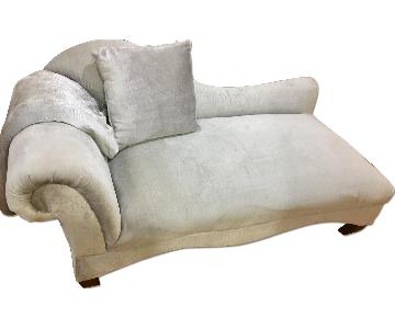 Alligator Pattern Grey Suede Chaise Lounge