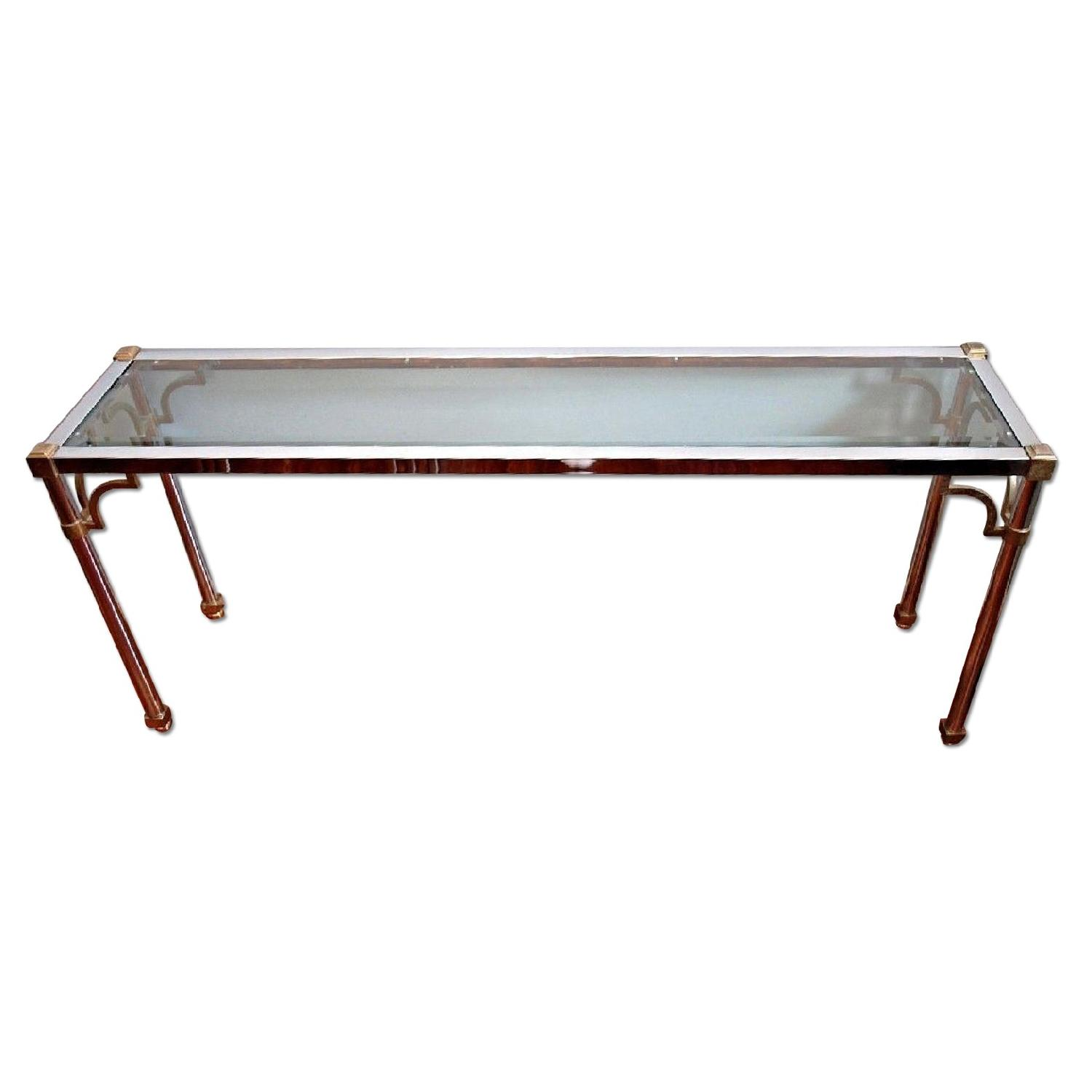 1960s Jansen Chrome Brass Glass Console Table AptDeco