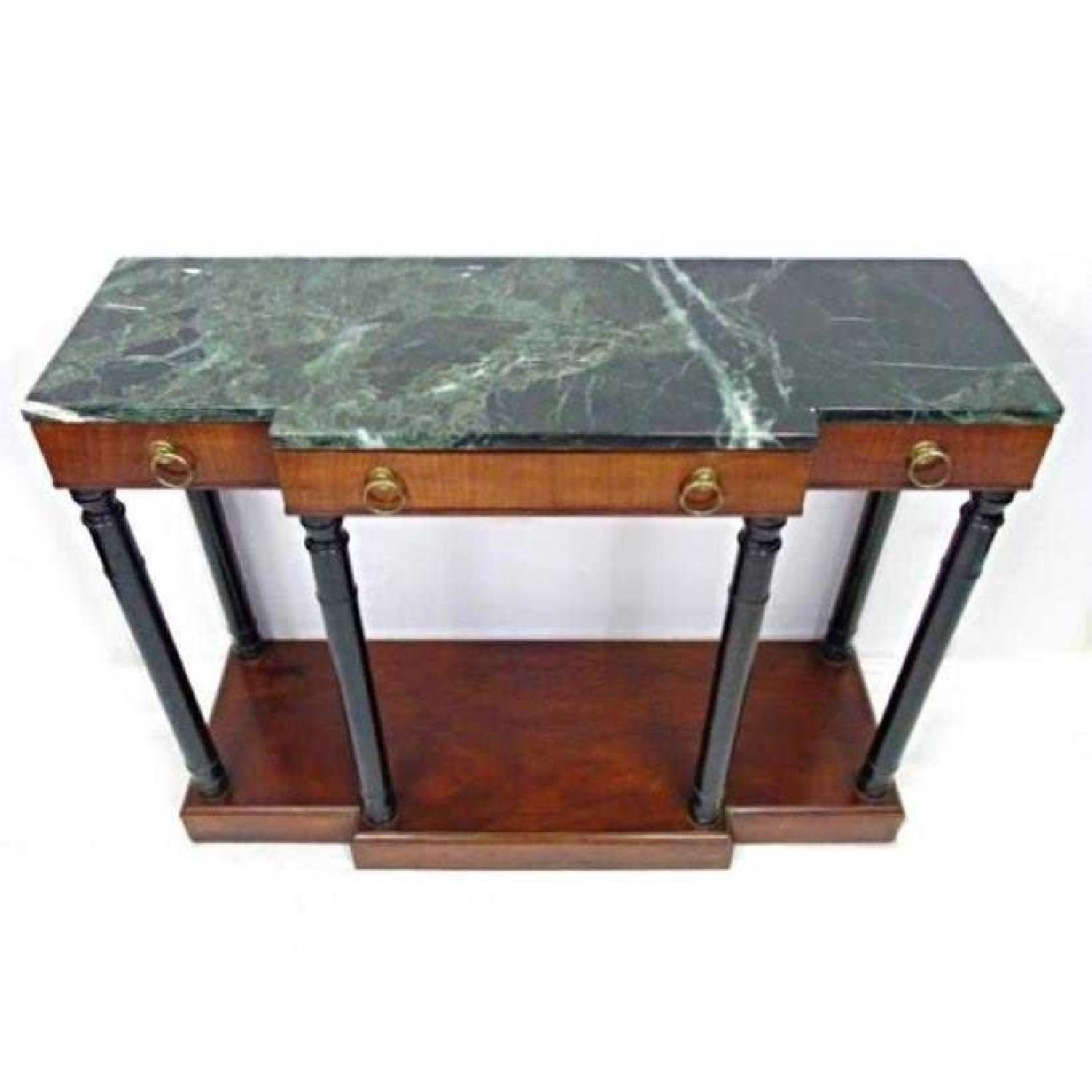 ... Baker Neoclassical Mahogany Marble Top Console Table 0 ...