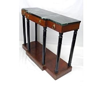 Baker Neoclassical Mahogany Marble Top Console Table