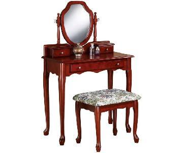 Brown Red Makeup Vanity w/ Storage Drawers & Stool