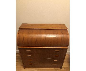 Barrel Style Mid-Century Roll Top Desk