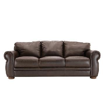 Raymour & Flanigan Marsala Leather Sleeper