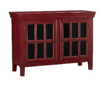 Crate & Barrel Rojo Red Media Cabinet