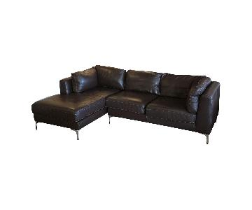 Design Within Reach Albert Sectional in Brown Leather