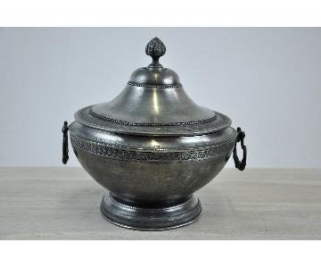 French Antique Neoclassical Pewter Soup Tureen