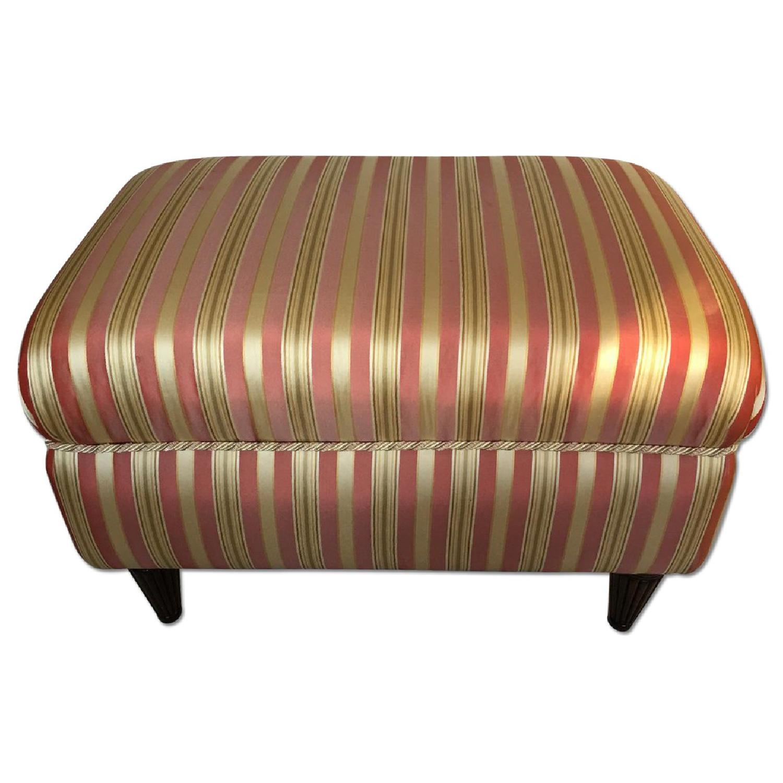 Striped Upholstered Ottoman Aptdeco