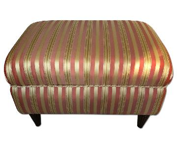 Striped Upholstered Ottoman