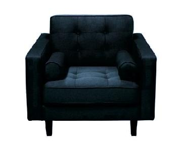 Diamond Sofa Dark Navy Cotton/Linen Blend Armchair