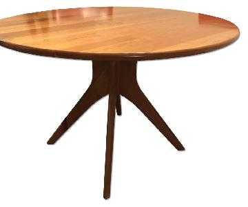Crate & Barrel 44'' Round Cherry Wood Dining Table