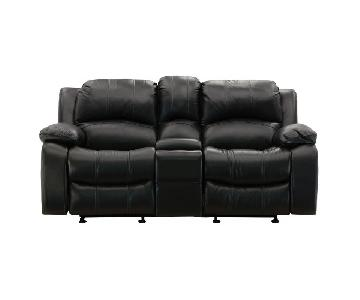 Raymour & Flanigan Leather Power-Reclining Loveseat