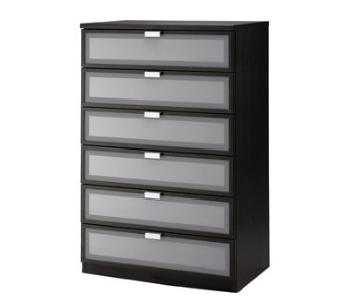 Ikea Hopen 6-Drawer Chest in Black & Frosted Glass