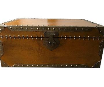 Vintage Wood Storage Trunk w/ Brass Hardware