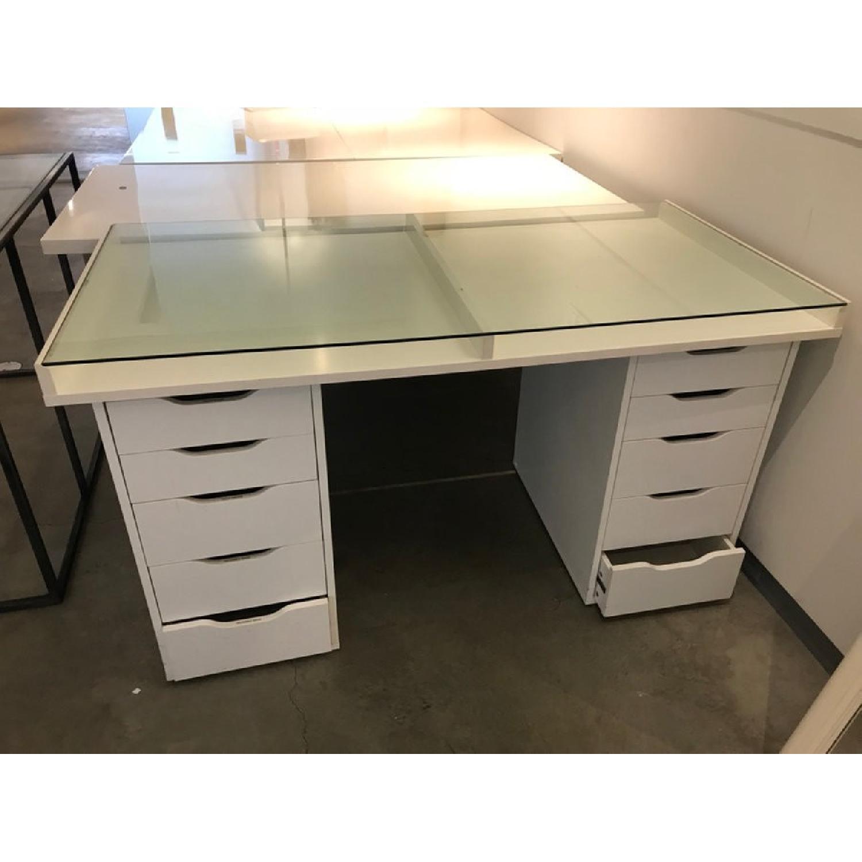 Ikea White Desk W Drawers Glass Table Top Aptdeco