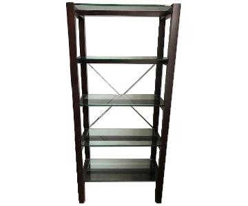 Crate & Barrel Wood & Glass Dark Brown Bookcase