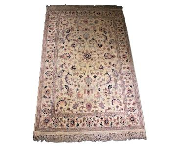 Handmade Indian Oriental Cream Blue Area Rug