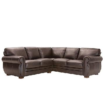 Raymour & Flanigan Dark Brown Leather Sectional Sofa