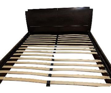 California King Walnut Bed Frame w/ Built in Storage
