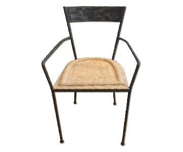 ABC Carpet and Home Steel Chair w/ Tan Cushion