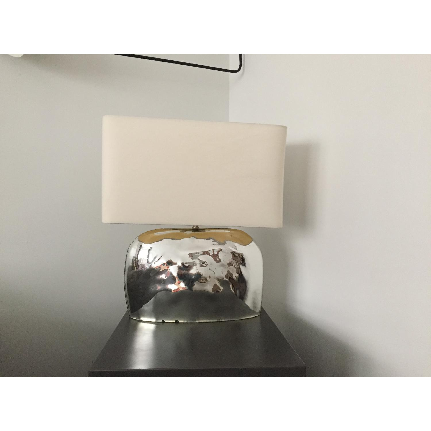 West elm pebble hammered mirror table lamp aptdeco west elm pebble hammered mirror table lamp aloadofball Image collections