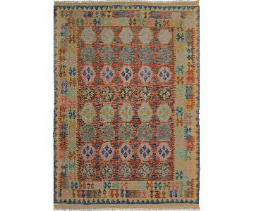 Arshs' Fine Rugs Kilim Arya Clay Blue/Red Wool Rug