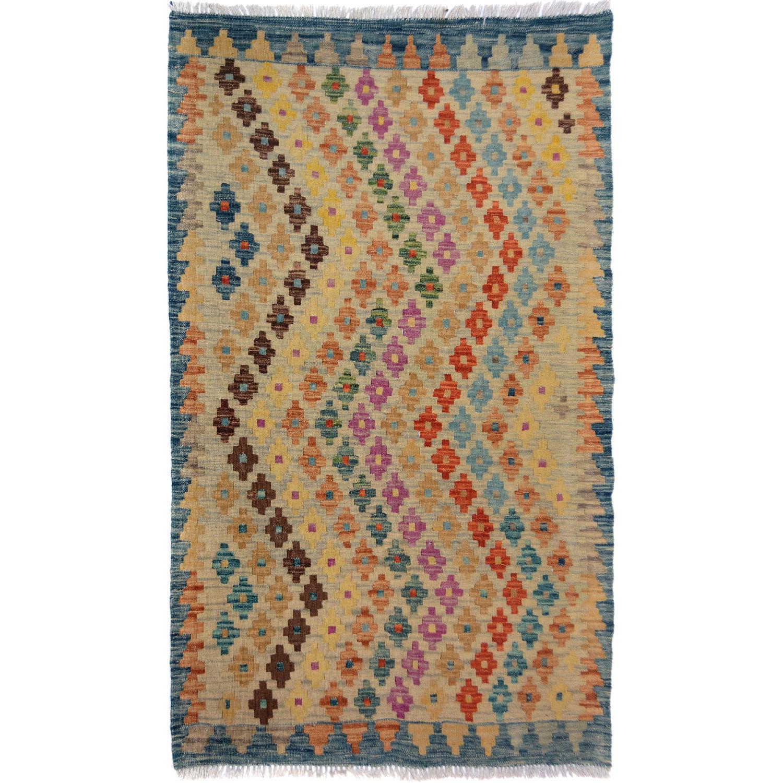Arshs' Fine Rugs Kilim Arya Abel Blue/Beige Wool Rug
