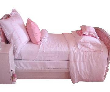 Twin Trundle Bed w/ Pink Fabric Headboard & Footboard