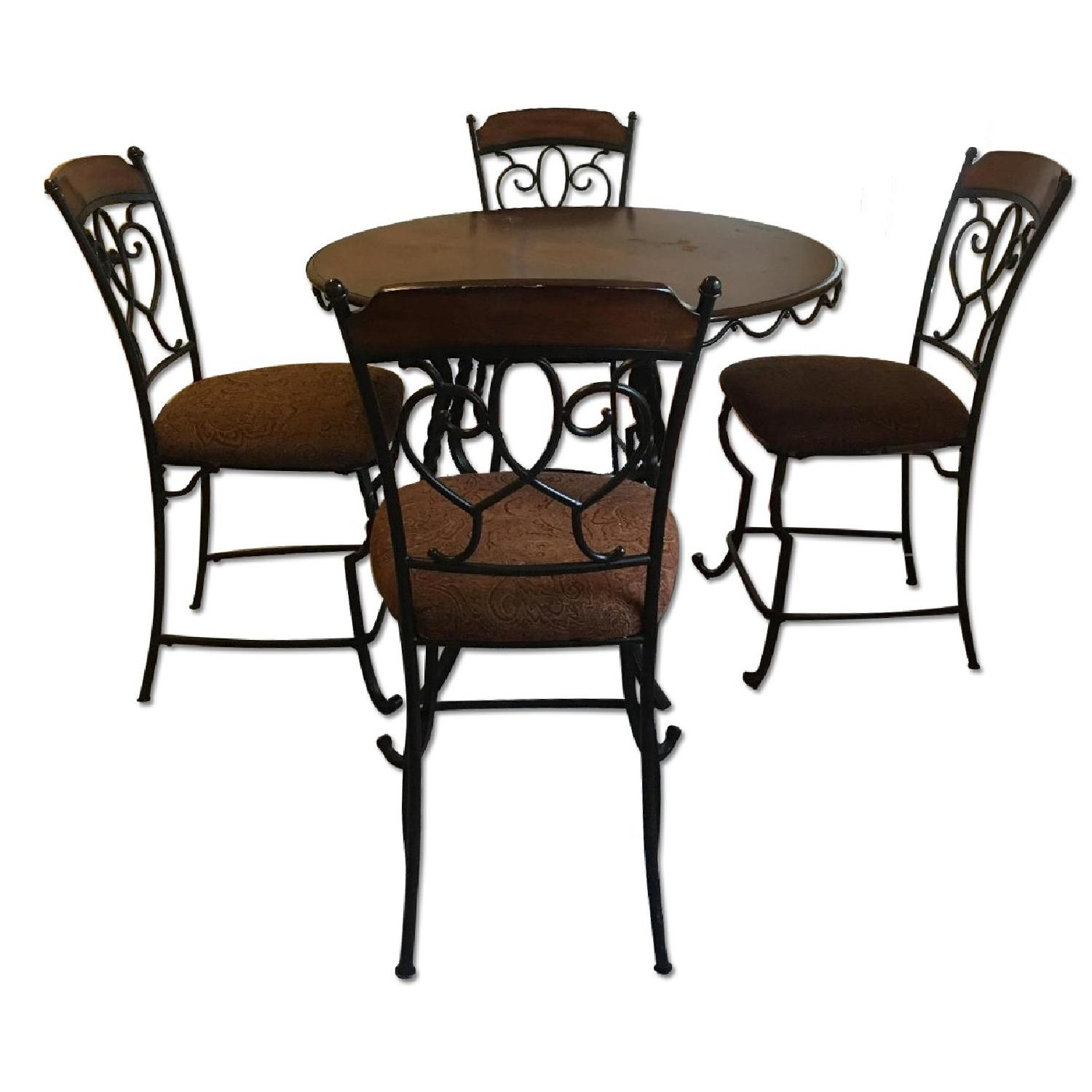 Round Black Metal Dining Table w/ 4 Chairs