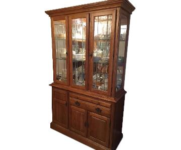 Vintage Solid Oak Wood China Cabinet